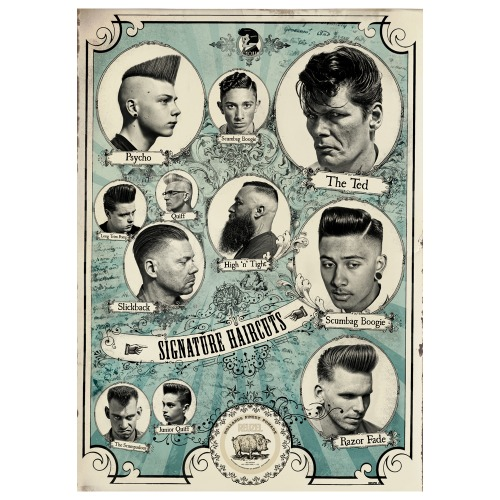그린 포스터 - Signature Haircuts Poster (size : 506x706 mm)